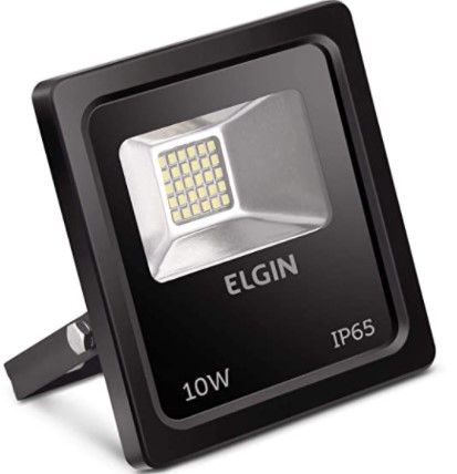 REFLETOR ELGIN POWER LED 10W PRETA SEM SENSOR BIVO