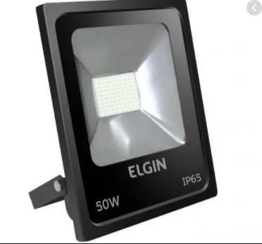 REFLETOR ELGIN POWER LED 50W PRETA SEM SENSOR BIVO